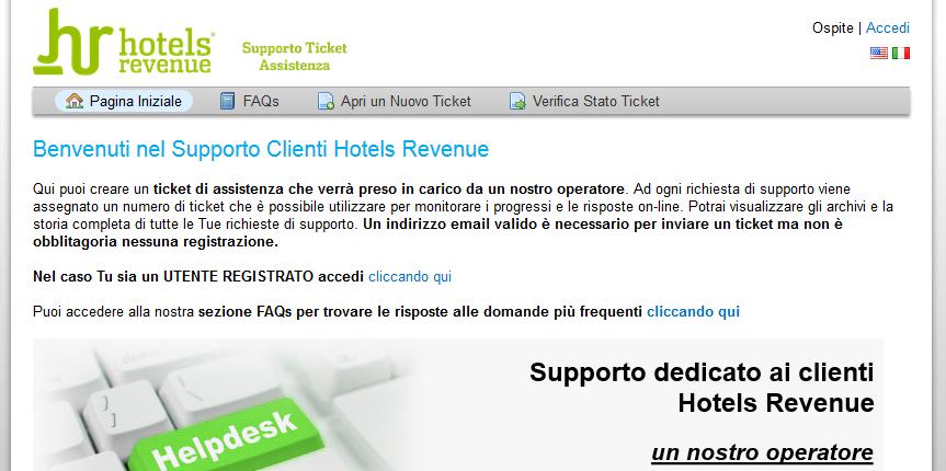 Nuovo portale Supporto Clienti Hotels Revenue